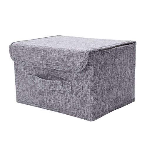 Fransande Cajas de almacenamiento plegables de tela de lino de algodón y lino para guardar Cd, con tapas y asas