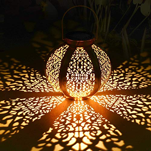 Tencoz Solar Lantern Outdoor, Hanging Lanterns Solar Lights Garden Lantern Metal Yard Art Garden Decorations for Porch