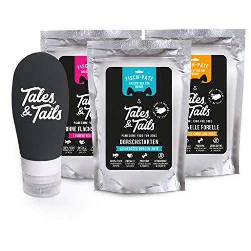 Tales & Tails PAWESOME FOOD FOR PETS Schlecktubenpaket I Futtertube für Hunde + 3 x hochwertige Belohnung zur Befüllung I 3 x 100g Nassfutter I Monoprotein I nur 1 Zutat
