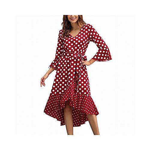 Wennew Vestito atipico da Donna a Manica Lunga con Scollo a V a Pois con Cintura (Colore : Red, Size : L)