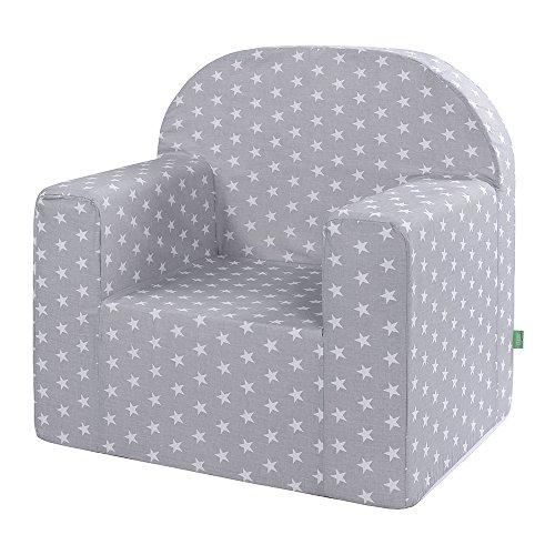 LULANDO Classic Kindersessel Babysessel Kindercouch Mini Sessel Kindermöbel für Spielzimmer und Kinderzimmer. Farbe: White Stars / Grey