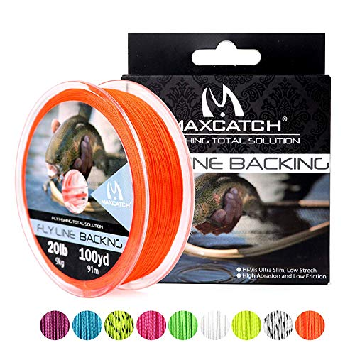 Maximumcatch Fliegenschnüre Backing Fliegenfischen Geflochtene Schnüre 20/30lb,100/300yards (Orange, 20lb,100yards)