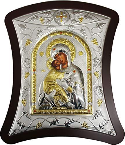 Ferrari & Arrighetti Icono de la Virgen de Vladimir de Plata - 31 x 39 cm