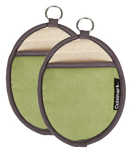 Cuisinart Silicone Oval Pot Holders and Oven Mitts - Heat Resistant, Handle Hot Oven / Cooking Items Safely - Soft Insulated Pockets, Non-Slip Grip and Convenient Hanging Loop - Green, 2pk