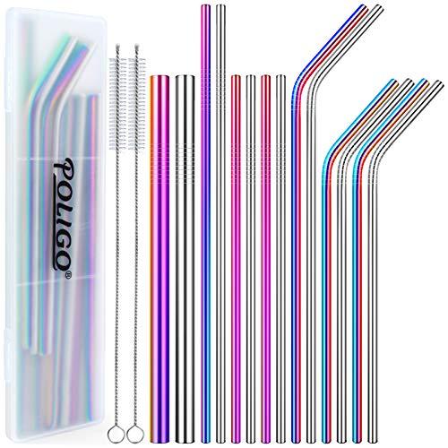 POLIGO 16 pcs Reusable Stainless Steel Straws