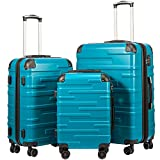 Coolife Luggage Expandable(only 28') Suitcase 3 Piece Set with TSA Lock Spinner 20in24in28in (lake blue)