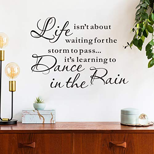 Life Isn'T About Waiting For The Storm To Pass, It'S Learning To Dance In The Rain Quote Wall Decal, Inspirational Lettering Wall Sticker For Bedroom Classroom Decoration