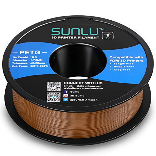 SUNLU PETG 3D Printer Filament, 3D Printing PETG Filament 1.75 mm, Strong 3D Filament, 1KG Spool (2.2lbs), Coffee