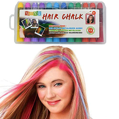 Image of the Hair Chalk Birthday Gifts For Girls - 12 Temporary Non-Toxic Easy Washable Hair Chalk Colour Pens | Makeup Kit For All Ages | Gifts for 8 Year Old Girls Gifts for 6 7 8 9 10 11 12 Year Olds