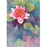 5D Diamond Painting Pond Lotus Watercolor Painting Full Drill by Number Kits, SKRYUIE DIY Rhinestone Pasted Paint with Diamond Set Arts Craft Decorations (16x20inch)