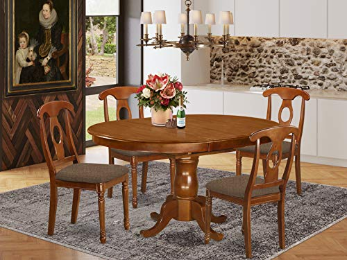 5 Pc Dining room set for 4-Oval Dining Table with Leaf and 4 Styled Dining Chairs