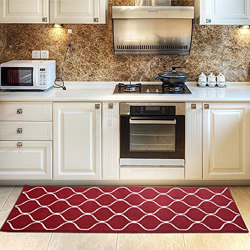 COSY HOMEER Kitchen Rug Non Slip Backing for Kitchen Floor Runner Rug with Water Absorbent Specialized in Machine Washable (Rotwein, 60 * 180cm)