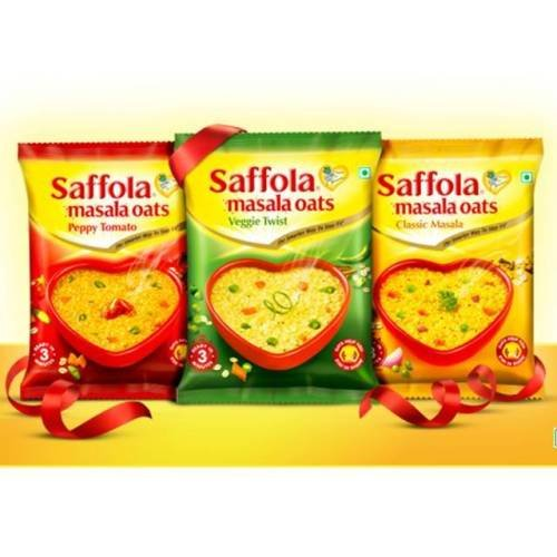 Saffola Spicy (Masala) Oats, Ready in 3 Minutes, 3 Different Flavors - Classic Masala, Peppy Tamato and Veggie Twist , Delicious Healthy Breakfast - Pack of 6 (3 Flavors Each)
