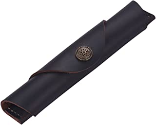 Vintage Handmade Leather Single Pen Case Holder Cowhide Fountain Pen Sleeve Roll Wrap Pen Pouch (DeepBrown Leather)