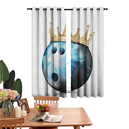 Blackout Curtains for Living Room- Sun Shade Crown on Artistic Ball Bowling King Champion Victory Theme Print Sky Blue Black Gold Energy Efficient Room Darkening Set of 2 Panels W55'x L62'