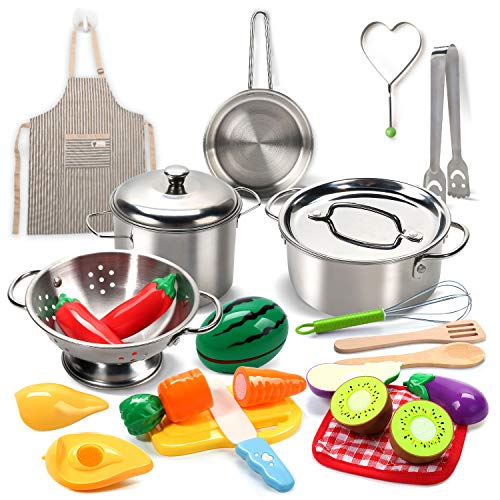 CUTE STONE Pretend Play Kitchen Toys with Stainless Steel Cookware Pots and Pans Set, Toy Cooking Utensils, Apron, Cutting Play Food, Play Accessories Toys for Kids Toddlers Girls Boys
