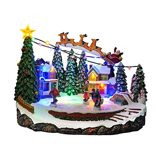HLSUSAN Scena del Villaggio con Pista di Pattinaggio su Ghiaccio Animata Musicale, Suona 8 Melodie Natalizie, Scena del Villaggio di Natale Illuminato E Musicale, Colorato