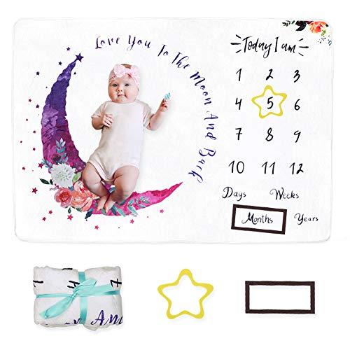 Dsaren Manta Mensual Hito Fotos Para Bebe Recien Nacido con Marco Foto Baby Shower Regalo Para Nueva Madre (blanco)