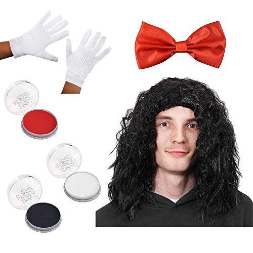 I LOVE FANCY DRESS LTD Horror MARIONETTEN Masken Set - Maske, Schwarze PERÜCKE,ROTE Fliege UND WEIßE Handschuhe UND Make UP