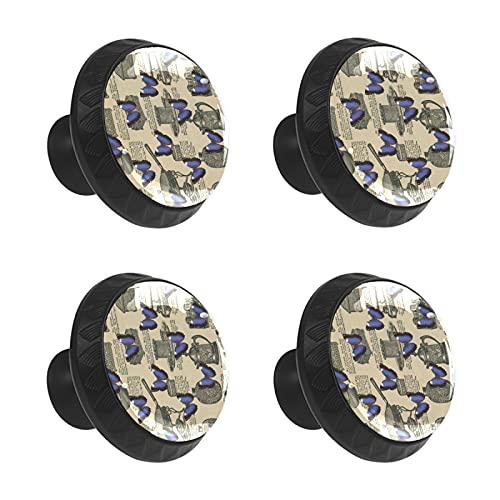 FCZ 4 piezas vintage catálogo y mariposa azul tiradores de cajón tirador de cristal forma de círculo de armario con tornillos para el hogar, la cocina y la oficina