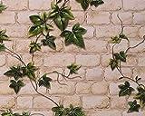 Papel pintado Ivy Brick Effect Blanco/Verde