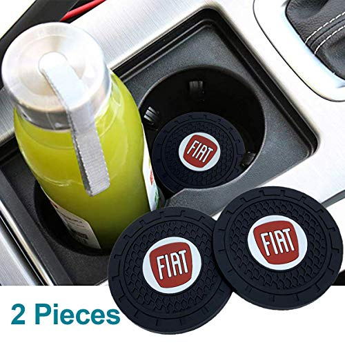 monochef Auto Sport 2.75 Inch Diameter Oval Tough Car Logo Vehicle Travel Auto Cup Holder Insert Coaster Can 2 Pcs Pack Fit Fi-at Accessory