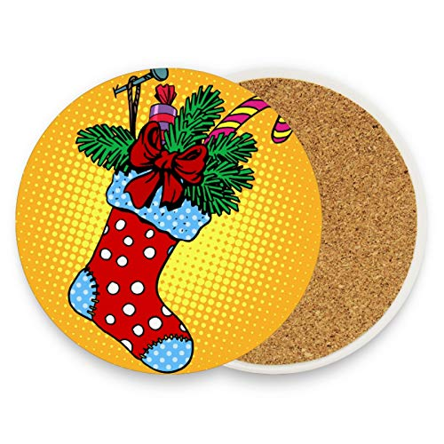 Christmas Sock Gifts Coasters for Drinks 4 Pieces Set Xmas Candy Cane Bar Cup Coaster Coffee Mug Glass Pad Tabletop Protection Mat for Housewarming Table Kitchen Dining Home Decor