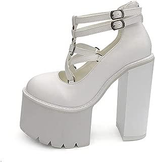 Fashion Women Pumps High Heels Zipper Rubber Sole Black Platform Shoes Spring Autumn Leather Shoes