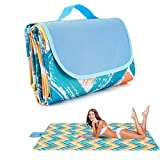 Beach Blanket Waterproof Sand Proof Picnic Blankets Lighweight , Outdoor Large Beach Mat Machine Washable Blanket Portable for Camping Hiking Family (145x200cm,60x80 inch)