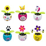 mickyshoes Set of 6 Cute Solar Power Flip Flap Flower Insect for Car Decoration Swing Dancing Flower Eco-Friendly Bobblehead Solar Dancing Flowers in Colorful Pots
