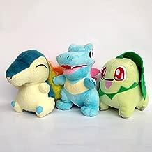 One Set of 3 PCS Johto Starter Pokemon 2 Plush Character Cyndaquil Totodile Chikorita Toy Doll by Generic