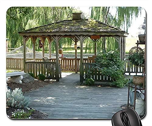 Mauspad Pavillon Terrasse Schatten Terrasse Bäume Entspannung Im Freien Gaming Mausmatte Anti Rutsch Verbessert Präzision Mausunterlage Multifunktionales Gaming Mousepad Für Laptop/Pc, 25X30Cm