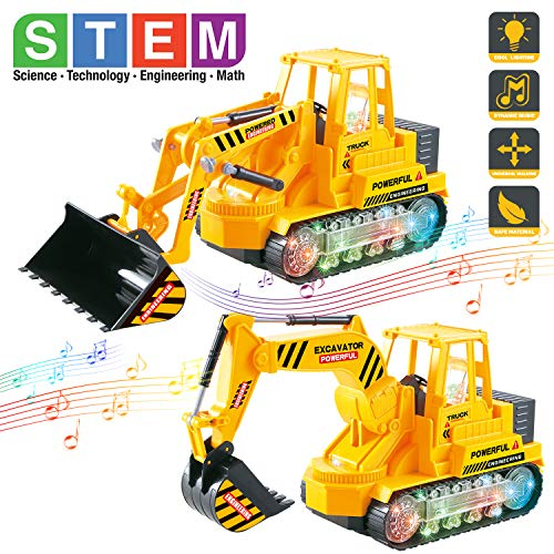Bump And Go Engineering Construction Vehicles Toy Set with Lights and Sounds, Set of 2 Light Up Electric Toy Trucks...