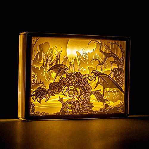 Leeslamp, bedlamp, tafellamp, tafellamp, tafellamp, led-tafellamp, papier, carving, nachtverlichting, World of Warcraft, nachtlampje, bedlampje, bedlampje, nachtlampje, best decoratieve lamp
