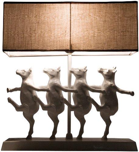 Kare Design Tischleuchte Dancing Cows, moderne, lustige Nachttischlampen tanzende Kühe aus Polyresin, Deko-Designlampe, weiß-beige (H/B/T) 43,5x40,5x11,5cm