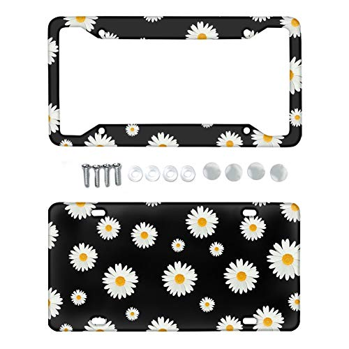 TOADDMOS Decorative White Daisy Floral Premium License Plate Frame Universal Auto License Plate Holder Covers