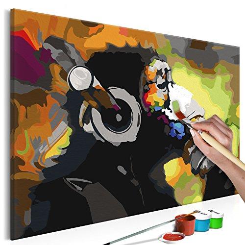 murando - Malen nach Zahlen Banksy AFFE Musik 60x40 cm Malset mit Holzrahmen auf Leinwand für Erwachsene Kinder Gemälde Handgemalt Kit DIY Geschenk Dekoration n-A-0274-d-a