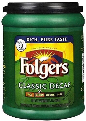 Fresh Taste of Folgers Coffee, Classic Decaf Ground Coffee, Medium Flavor, 11.3 Oz Canister - (1 pk)