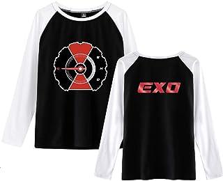 QUIQUOL EXO T-Shirt Top Manica Lunga Casual Maglietta Rotondo Collo Bluse Cucitura Camicia Superiori Popolare per Uomini e...