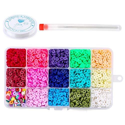 Cuentas espaciadoras planas redondas de arcilla polimérica de 6 mm para hacer joyas, pulseras, collar, pendiente, Kit de artesanía DIY con colgante 4080 unids/caja-2