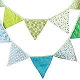 Festone con bandierine triangolari in tessuto, colorate, 3,05 metri, a due facce, stile vi...