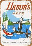 LoMall 12 x 16 Metal Sign - Hamm's Beer Bears Fishing - Vintage Wall Decor Art