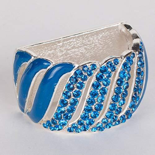 Nurit K Designs Spiral Chain Napkin Ring with Crystals, Blue Napkin Ring, Hanukkah Napkin Ring