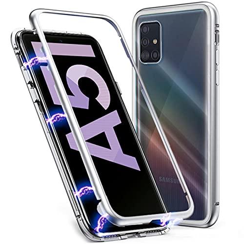 numerva Handyhülle kompatibel mit Samsung Galaxy A51 Hülle Metall Rahmen Rückseite aus Gehärtetes Glas Cover Silber