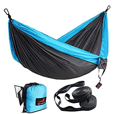 HONEST OUTFITTERS Double Camping Hammock With Hammock Tree Straps,Portable Parachute Nylon Hammock for Backpacking travel 118L x 78W Inches Grey/Blue