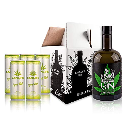 Breaks Cannabis Gin - Genießer Set - 1 x 0,5 L Flasche Breaks Gin Cannabis + 5 CanLife Lemon Kush Hanf Limonade - Handmade -