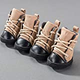 AMURAO Botas para Perros Mascotas Zapatos de Lona Suaves Antideslizantes Otoño Invierno Mantener Calzado cálido para Perros pequeños