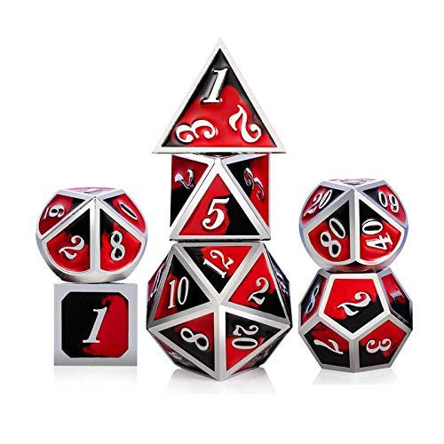 KMRDND Dados de metal DND, D20 D&D Matal Dice Polyhedral Pattern Dungeons Dragons RPG Juguetes Juegos de rol Juego de dados de metal