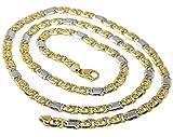 Cadena sólida de oro amarillo y blanco de 18 quilates, ojo de tigre alternado 3 + 1 plano, grosor 5,5 mm, longitud 60 cm, 24 pulgadas