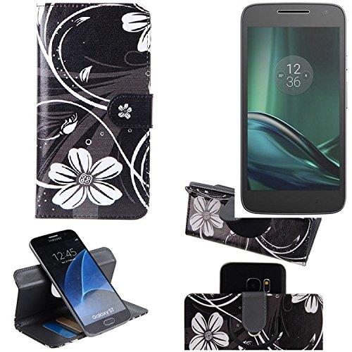 K-S-Trade para Lenovo Moto G Play Cartera Funda Carcasa 'Flores' | 360° Wallet Case Protección Innovadora De La Cámara